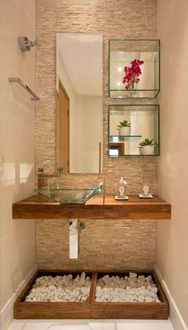 Decoração de vidro para banheiro pequeno