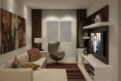 Sala pequena com decoração sóbria