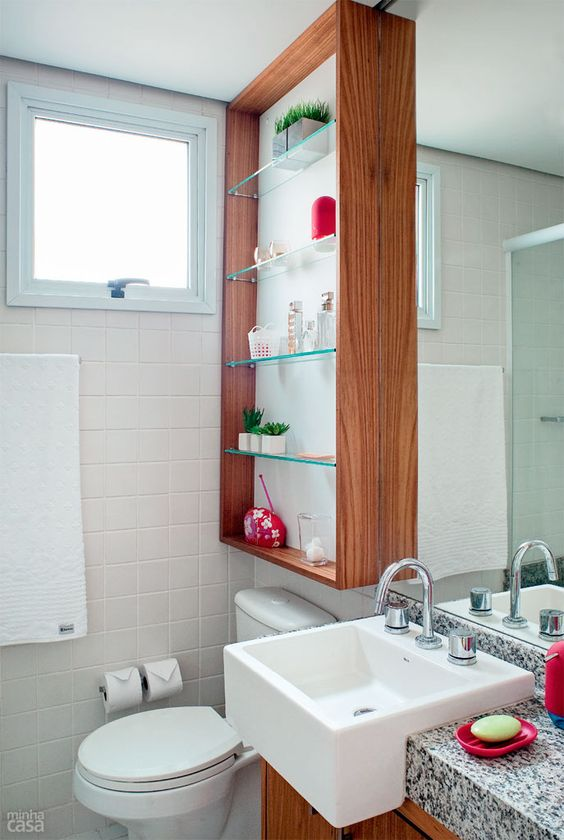 Banheiros Decorados com Nichos de Madeira FotosSó Decor -> Nicho Armario Banheiro