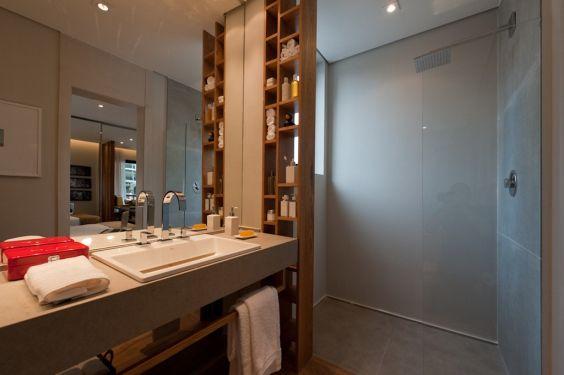 Banheiros Decorados com Nichos de Madeira FotosSó Decor -> Nicho Banheiro Vertical