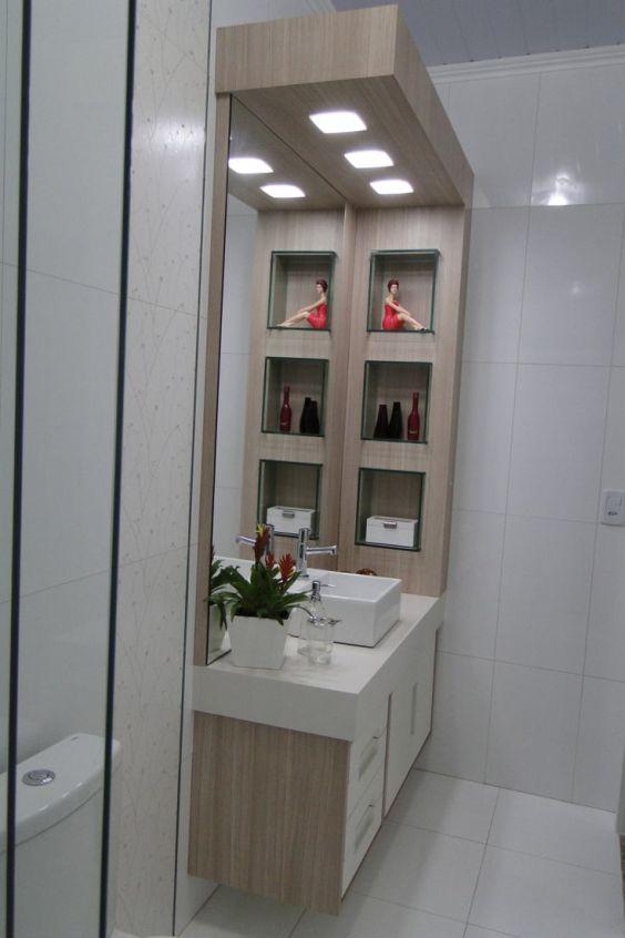 Banheiros Decorados com Nichos de Madeira FotosSó Decor -> Banheiro Cm Nicho
