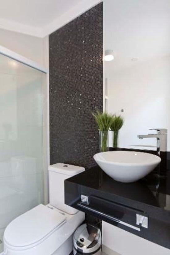 17 Banheiros Decorados com Pastilhas Pretas Fotos, ModelosSó Decor -> Banheiros Decorados Com Pastilhas Roxas