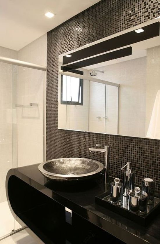 17 Banheiros Decorados com Pastilhas Pretas Fotos, ModelosSó Decor -> Banheiros Decorados Pastilhas Pretas
