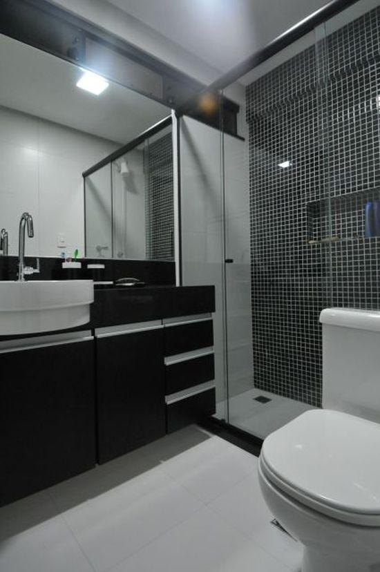 17 Banheiros Decorados com Pastilhas Pretas Fotos, ModelosSó Decor -> Banheiros Decorados Com Pastilhas Portobello