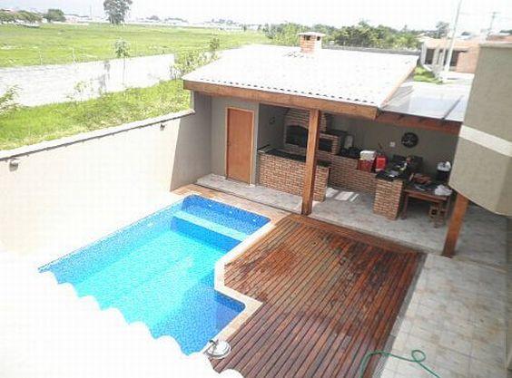 Decora o de rea externa com churrasqueira e piscina for Alberca para 8 personas