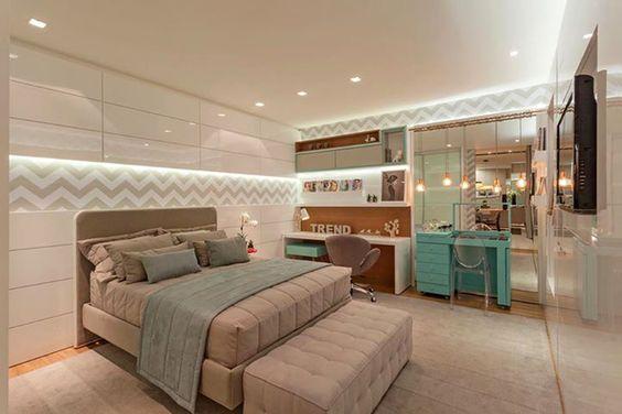 Decoração de Quarto de Casal com Closet e Banheiro  ~ Quarto Solteiro Moderno