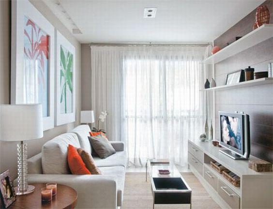 Decoração de Salas Pequenas e Estreitas Modelos