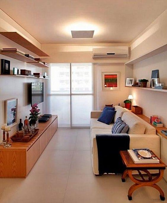 Decora o de salas pequenas e estreitas modelos fotoss - Decoracion para casas muy pequenas ...