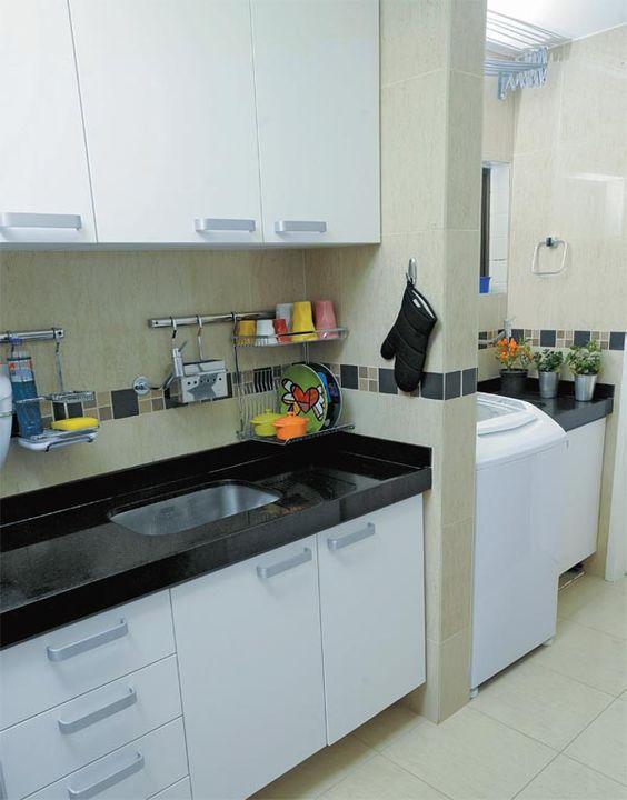 decoracao cozinha e area de servico integradas:Decoração de Cozinha com Área de Serviço Pequena