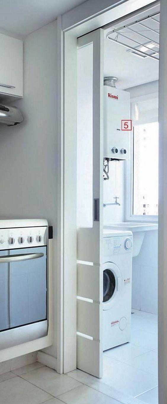 decoracao cozinha e area de servico integradas: em preto e branco para área de serviço integrada com cozinha