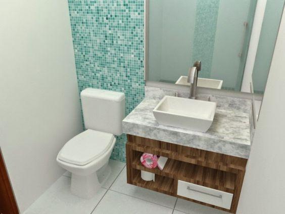 Banheiros Decorados com Faixas de Pastilhas de Vidro 60 FotosSó Decor -> Decoracao De Banheiro Com Tijolos De Vidro