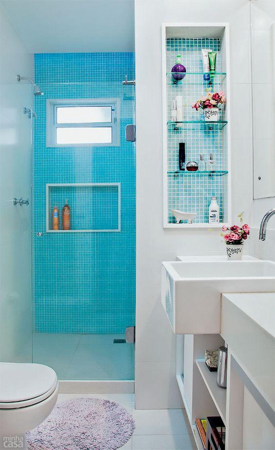Decoração de Banheiro Azul e Branco 60 ModelosSó Decor # Decoracao De Banheiro Com Pastilhas Azul