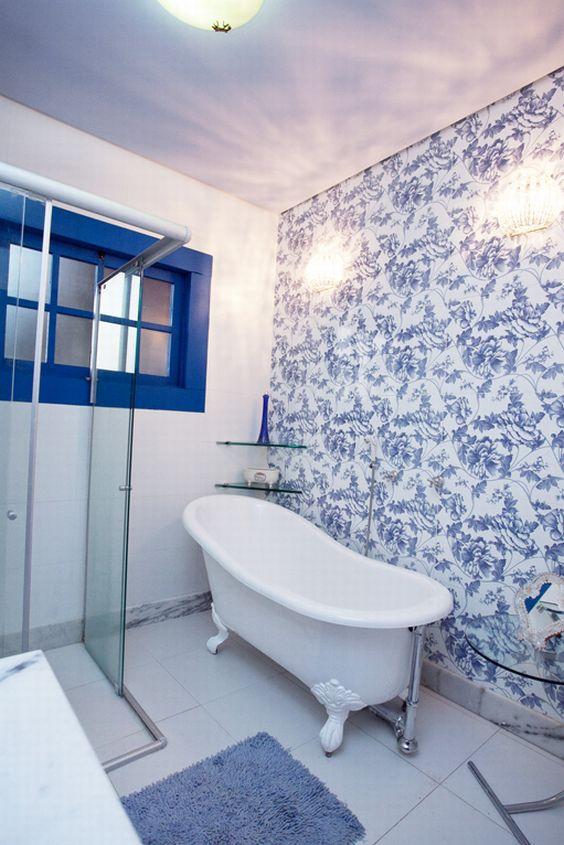 Decoração de Banheiro Azul e Branco 60 ModelosSó Decor -> Banheiro Decorado Azul
