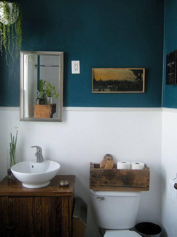 Decoração de Banheiro Azul e Branco