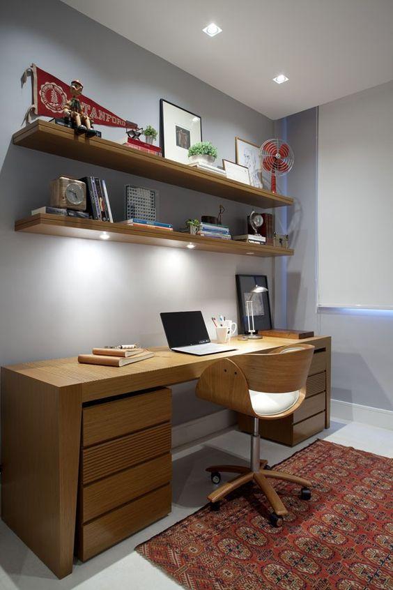 Decoração de Home Office no Quarto Fotos, ModelosSó Decor