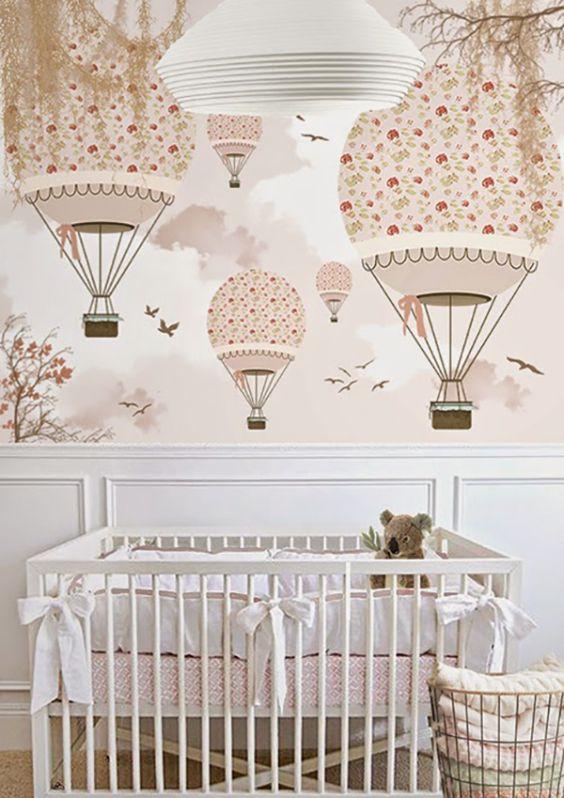 Fotos quartos de bebe decorados com papel de parede 59