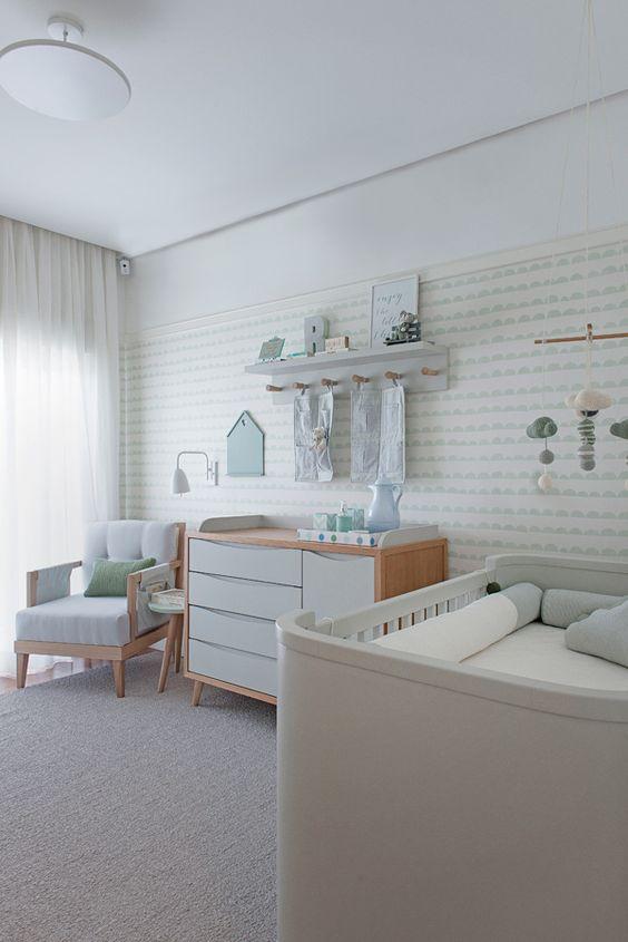 Fotos quartos de bebe decorados com papel de parede 13