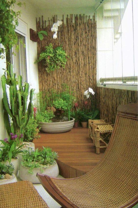 Decoraç u00e3o de Varandas Pequenas com Plantas FotosSó Decor -> Decoração De Varanda Com Vasos De Plantas