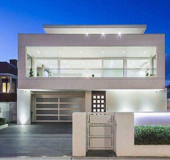 Minimalist Exterior Home Design Ideas: Fachadas De Casas Duplex Com Telhado Embutido: Fotos