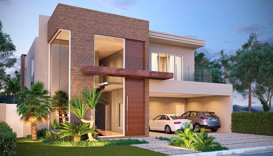 Fachadas de Casas Duplex com Telhado Embutido