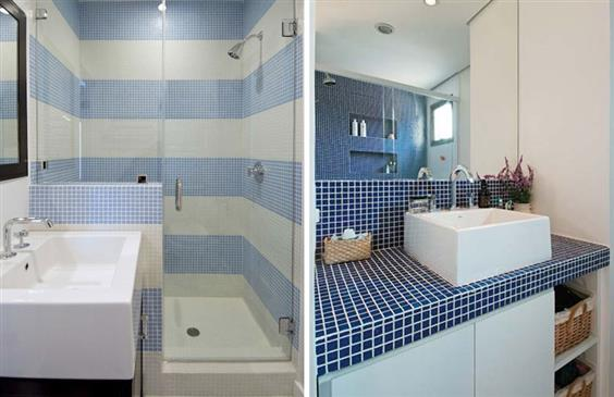 banheiro pequeno branco com tons de azul