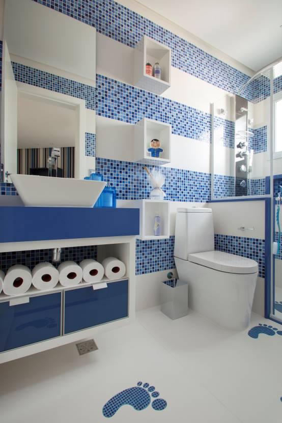 modelos de banheiros azul e branco