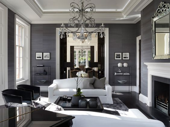 25 sancas de gesso para salass decor - Very beautiful decorated living room black and grey ...