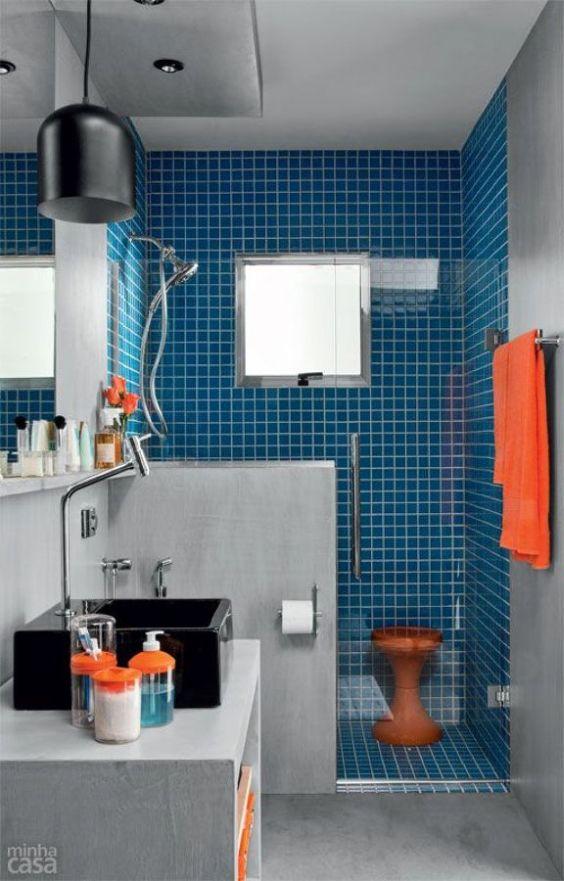 Decoração de Banheiros Simples e Bonitos 20 FotosSó Decor -> Decoracao De Banheiro Com Cimento Queimado