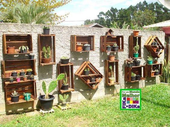 decoração de muros com vasos
