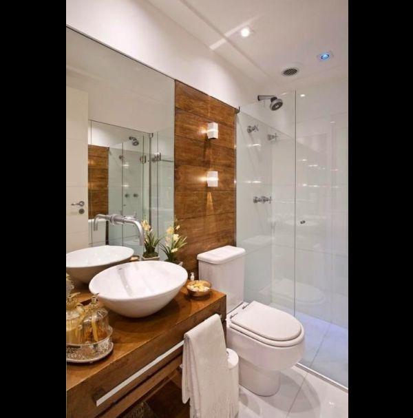 23 Fotos de Banheiros Pequenos Decorados com PorcelanatoSó Decor -> Banheiro Pequeno Tinta