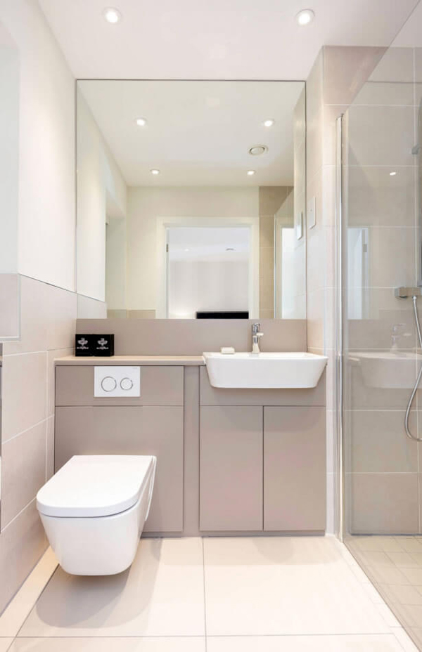 23 Fotos de Banheiros Pequenos Decorados com PorcelanatoSó Decor -> Decoracao De Banheiros Porcelanato