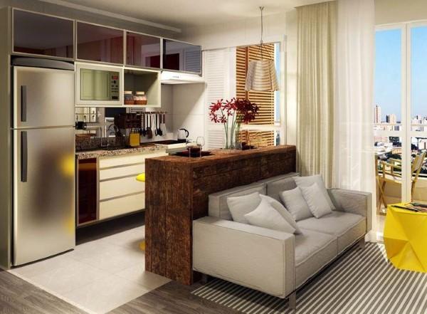 Decoração de sala de estar com cozinha