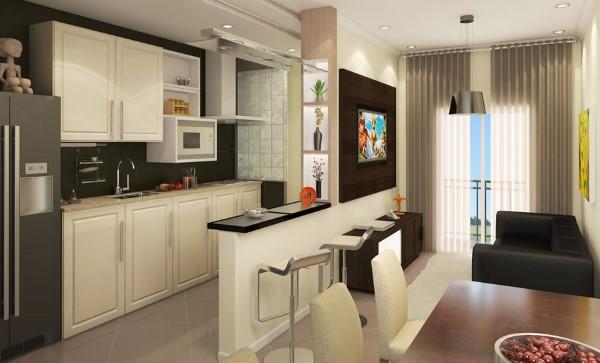 Decoração de sala de estar pequena e cozinha