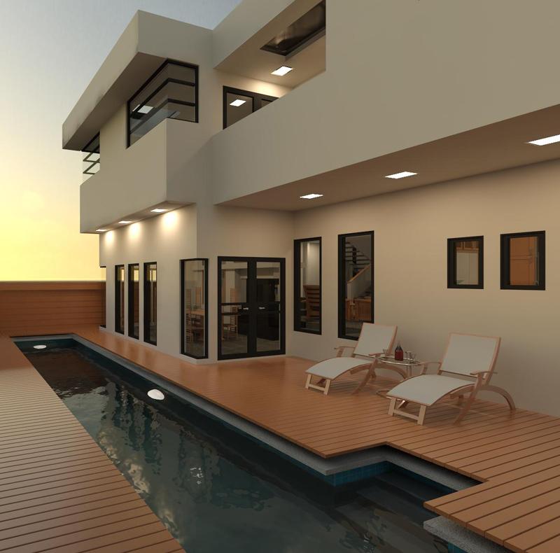 piscina longa com deck