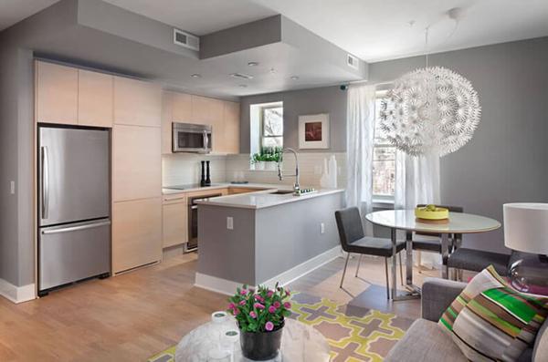 cozinha integrada cinza