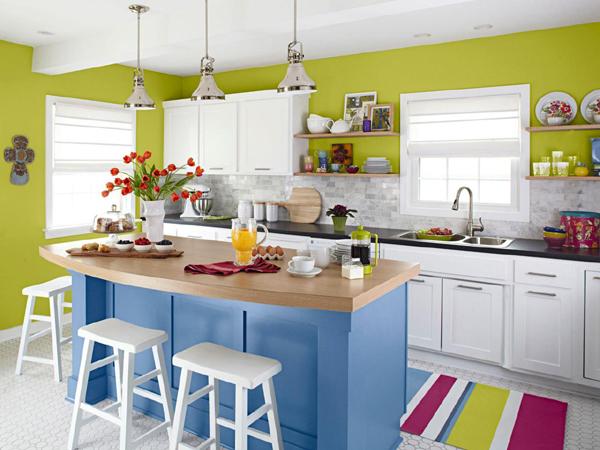 cozinha integrada com mix de cores
