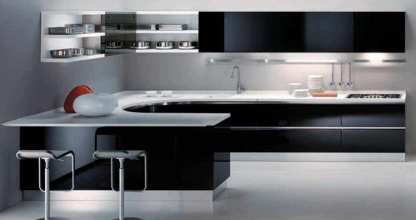 cozinha integrada preta e branca