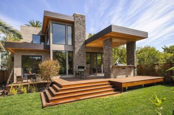 fachada de casa com pedras