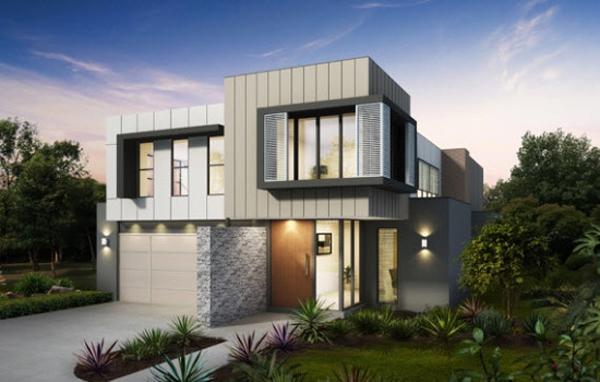 fachada de casa cinza e branco