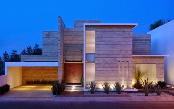 fachada de casa com pedras e luz