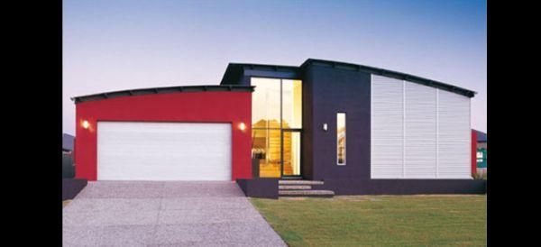 fachada de casa vermelha e preto