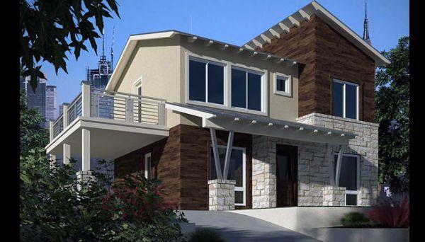 fachada de casa com recortes