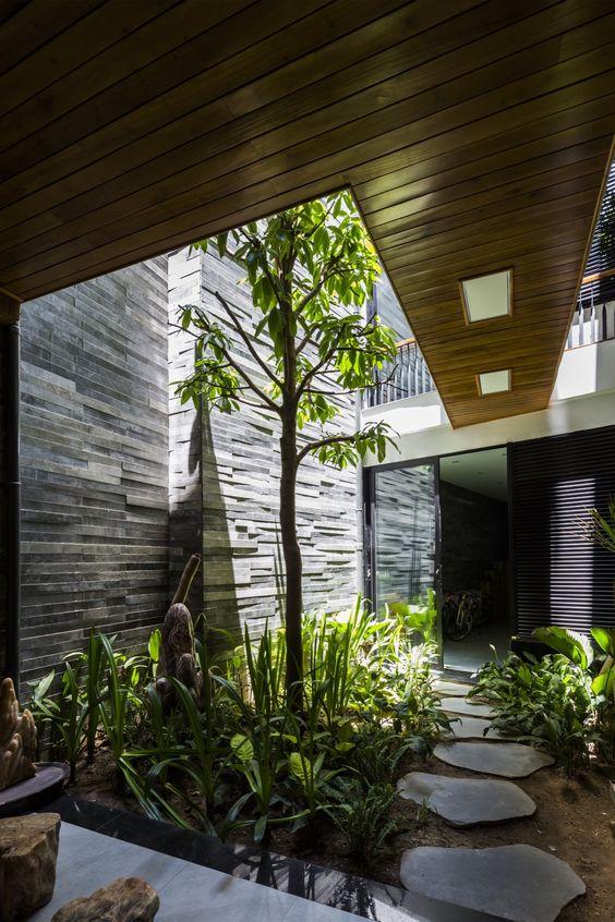 jardim interno com arvore alta