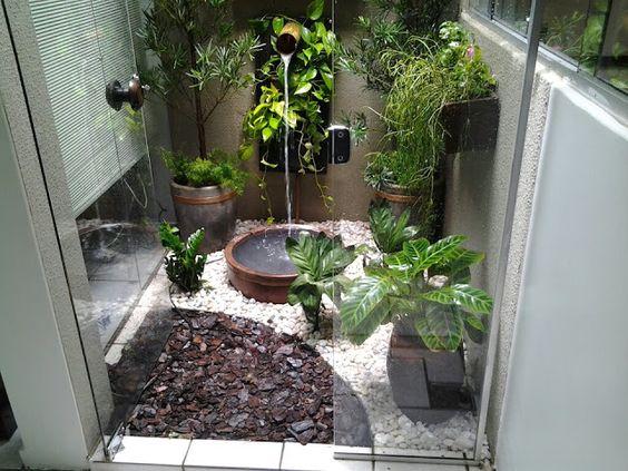 jardim interno com terra