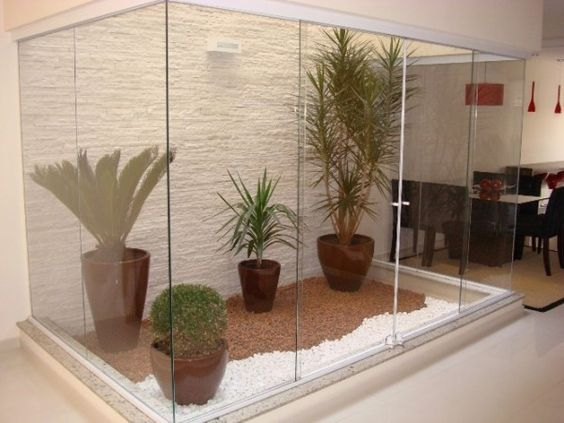 jardim interno com vasos grandes
