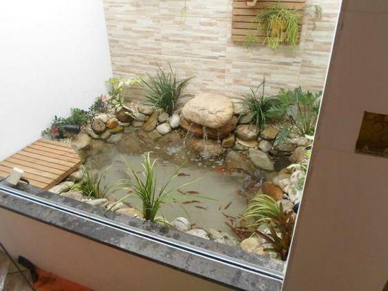 jardim interno com lago