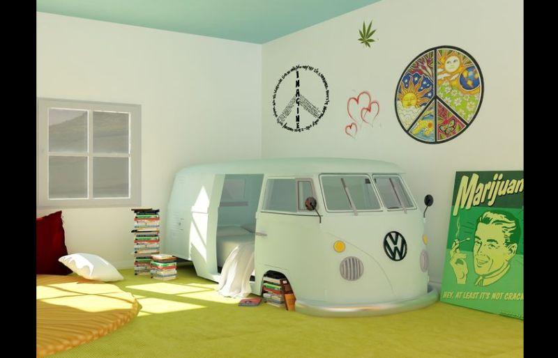 quarto com estilo hippie com kombi