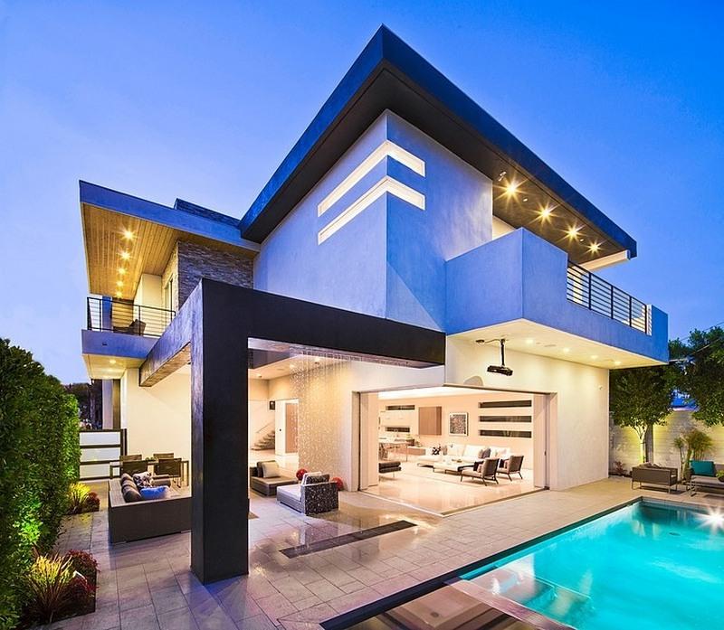 casa linda com fachada azul