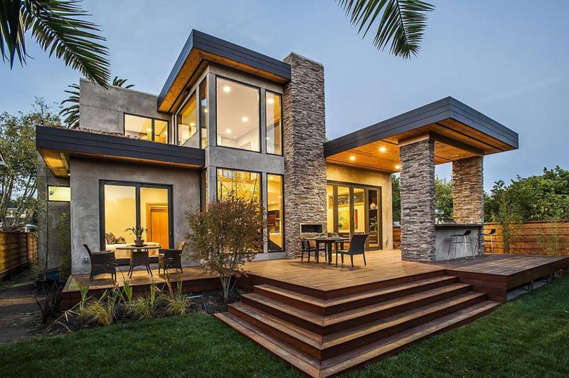 casa linda com pedras e vidro