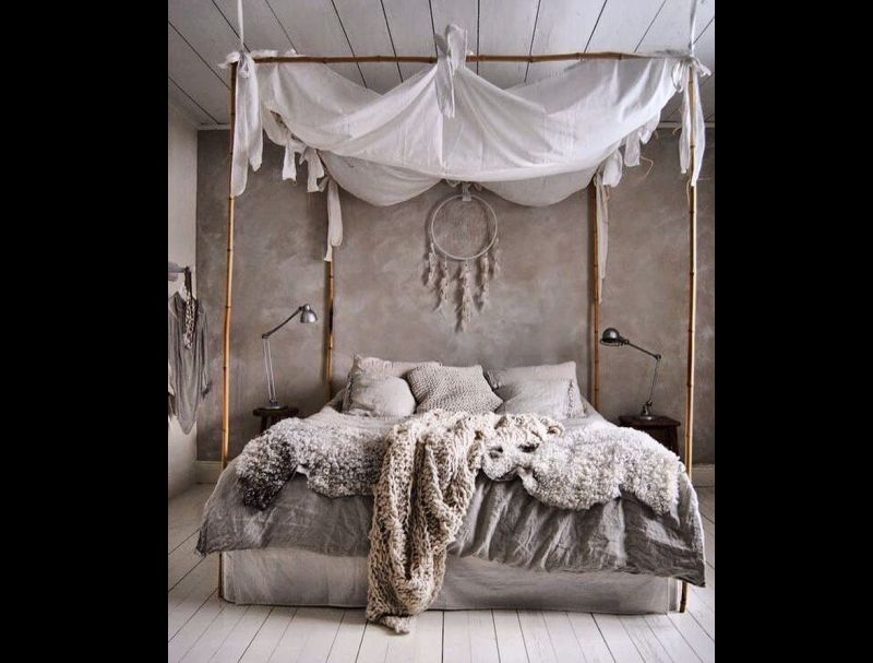 quarto com estilo hippie cinza